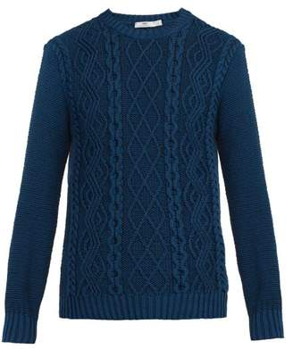 Inis Meáin Inis Meain - Faocha Cable Knit Organic Cotton Sweater - Mens - Blue
