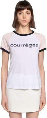 Courreges Logo Printed Cotton Jersey T-Shirt