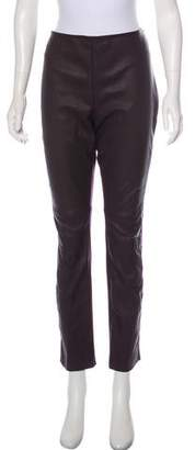 Akris Punto Leather Front Mid-Rise Straight-Leg Pants