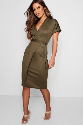 boohoo Petite Obie Tie Wrap Midi Dress
