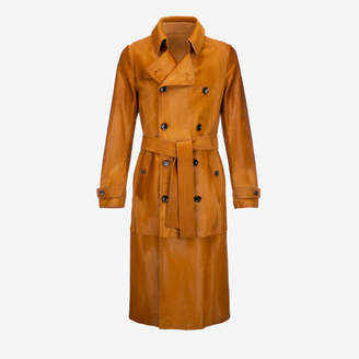 Bally Calf Hair Trench Coat Brown, Men's calf hair trench coat in cowboy