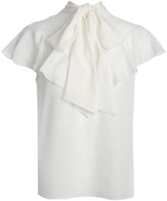 Alice + Olivia TERRY TIE NECK RUFFLE BLOUSE