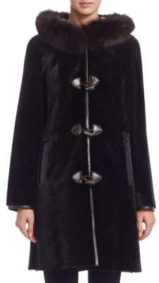 The Fur Salon Fox Fur Hood Reversible Shearling Coat