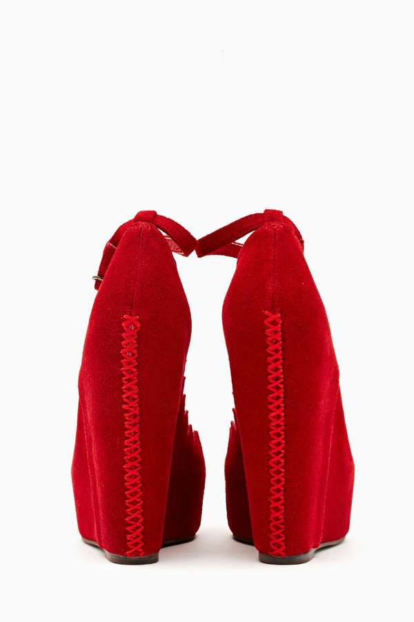 Nasty Gal Jeffrey Campbell Audrey Platform Wedge - Red Suede
