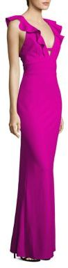 ABS Ruffled V-Neck Gown $350 thestylecure.com
