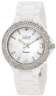 Burgi Women's BU47WT Round Swiss Quartz Diamond Ceramic Mother of Pearl Quartz Watch