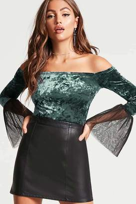 Forever 21 Contemporary Velvet Crop Top