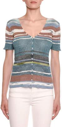 Missoni Striped Knit Short-Sleeve Cardigan
