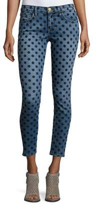 Current/Elliott The Stiletto Skinny Jeans w/Flocked Dots, Navy $258 thestylecure.com