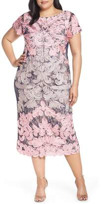 JS Collections Two Tone Soutache Embroidered Midi Dress