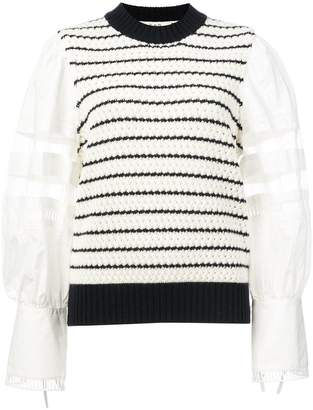 Sea contrast sleeve striped sweater