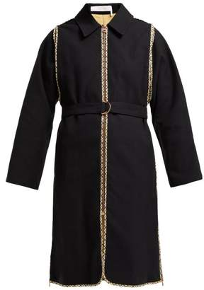 See by Chloe Check Trimmed Cotton Trench Coat - Womens - Black