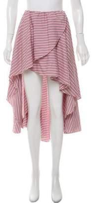 Caroline Constas High-Low Striped Skirt Red High-Low Striped Skirt