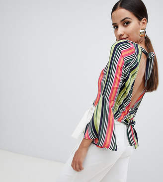 Missguided Striped Open Back Top