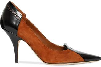 Burberry Brogue Detail Two-tone Suede and Leather Pumps