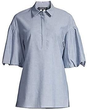 Lafayette 148 New York Women's Pia Chambray Puff Sleeve Blouse