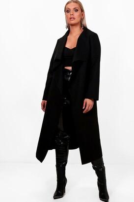 boohoo Plus Wrap Wool Look Coat