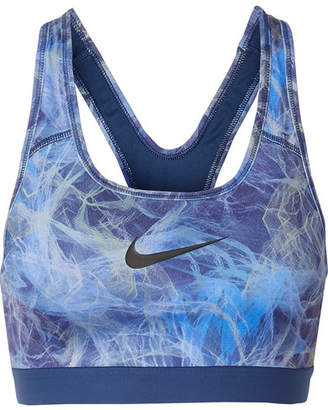 Nike Classic Printed Dri-fit Stretch Sports Bra - Blue