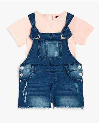 7 For All Mankind Kids Girls 12M-24M Short Sleeve Tee Overall In Seashell Pink
