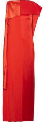 Diane von Furstenberg Draped Satin And Grosgrain Gown - Tomato red