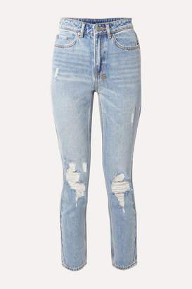Ksubi Slim Pin Distressed High-rise Skinny Jeans - Light denim