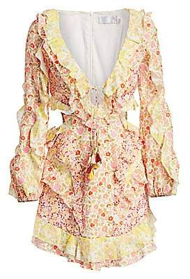 Zimmermann Women's Goldie Cutout Ruffled Floral Mini Dress