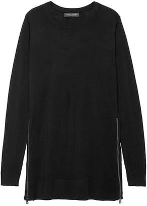 Banana Republic Petite Machine-Washable Merino Sweater Tunic with Zipper Accent