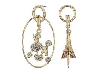 Betsey Johnson Gold Tone Hoop Earrings with Poodle and Eiffel Tower Charm