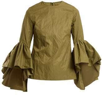 Marques Almeida Marques'almeida - Ruffle Trimmed Cotton Blend Top - Womens - Khaki