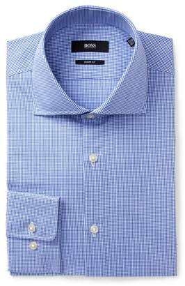 BOSS Micro Gingham Trim Fit Dress Shirt