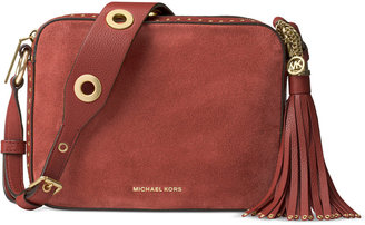 MICHAEL Michael Kors Brooklyn Suede Large Camera Bag $398 thestylecure.com