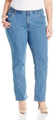 Lee Indigo Women's Plus-Size Fit No-Gap Waistband Straight-Leg Jean