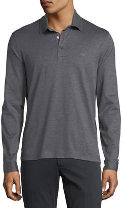 Salvatore Ferragamo Men's Long-Sleeve Polo Shirt with Gancini Chest Embroidery, Gray