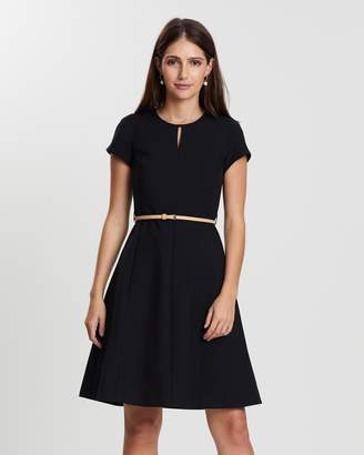 Dorothy Perkins Belted Fit-and-Flare Dress