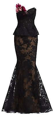 Marchesa Women's Peplum Corded Lace Gown