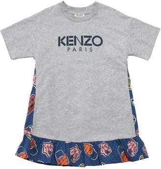 Kenzo Logo Print Cotton Jersey & Poplin Dress