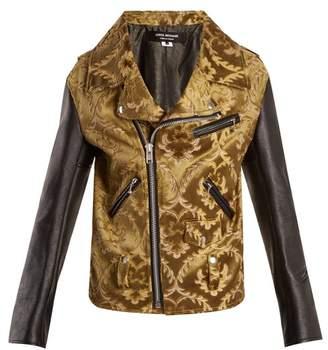 Junya Watanabe Floral Jacquard Contrast Sleeve Jacket - Womens - Khaki Multi