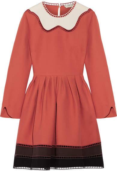 Fendi - Cutout Color-block Wool And Silk-blend Mini Dress - Orange