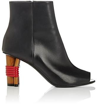 Balenciaga WOMEN'S PEEP-TOE LEATHER ANKLE BOOTS