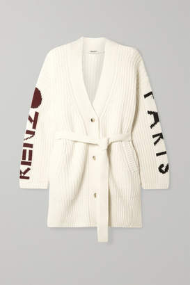 Kenzo Belted Ribbed Intarsia Wool-blend Cardigan - Cream