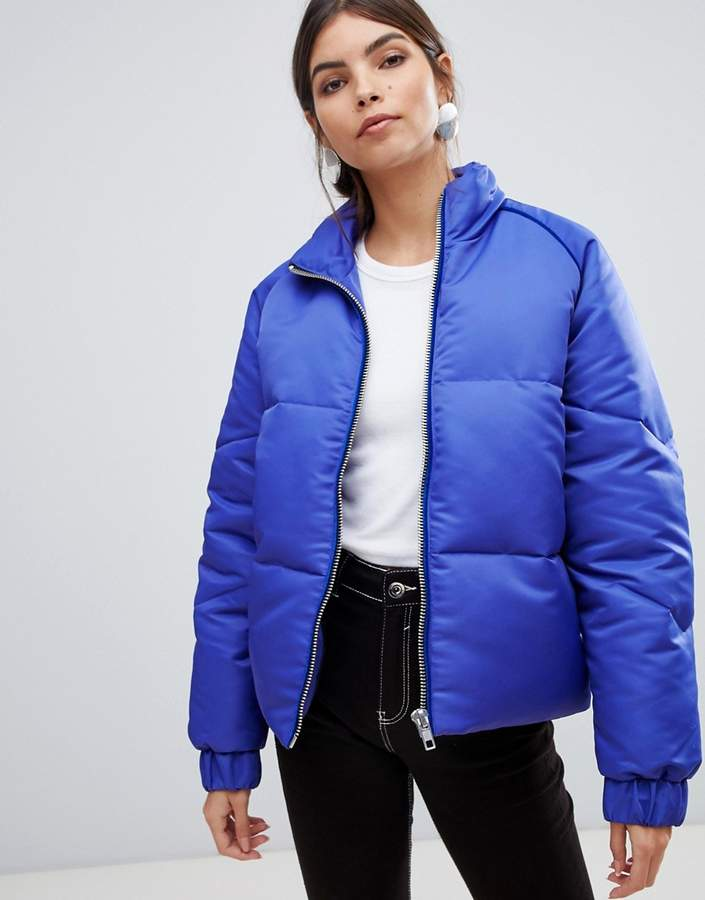 Y.A.S zip through padded jacket with velvet trim