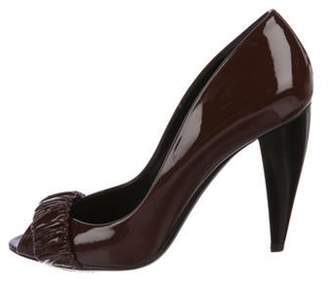 Burberry Patent Leather Peep-Toe Pumps Brown Patent Leather Peep-Toe Pumps