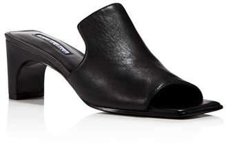 Charles David Women's Herald Leather Mid Heel Slide Sandals