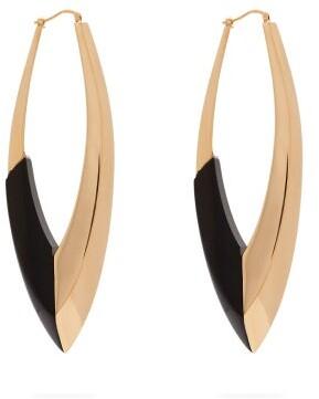 Saint Laurent Two Tone Geometric Hoop Earrings - Womens - Gold