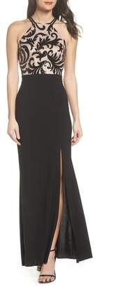 Morgan & Co. Sequin Embroidered Stretch Knit Gown