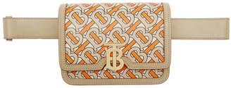 Burberry Orange and Beige Monogram Logo Bum Bag
