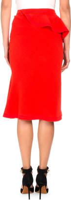 Givenchy Ruffled Wool Pencil Skirt