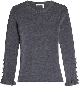 See by Chloe Wool Pullover with Buttoned Cuffs