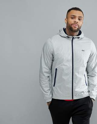 Lacoste Sport Hooded Zip Through Jacket in Gray