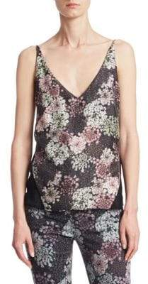 J Brand Lucy Floral-Print SIlk Camisole